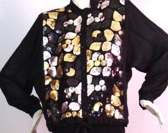 Vintage Style Black Blouse
