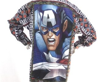 African Pattern Captain America shirt size XL