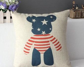 USA bear pillow case