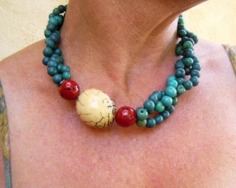 Tagua Nut Necklace ,Blue Ethnic Necklace, Re-Cycled Statement Necklace , Colombian Necklace,  Eco-Friendly Seed Jewelry, Seed Necklace