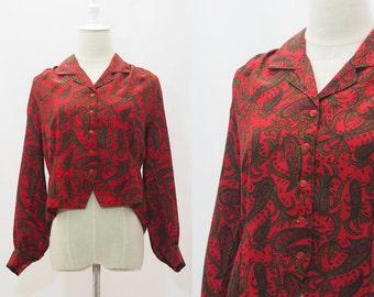 80s Sankei Paisley-Print Long-Sleeved Blouse