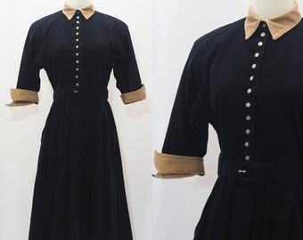 70s Corduroy Dress with Full Circle Skirt