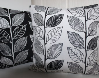 Cushion cover leaves on white - all sizes feasible 40 x 40 cm