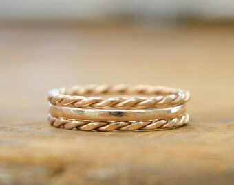 Stacking Rings | Thin Gold Rings | IHand Twisted Rope  | Thin Gold Ring Set | Stackable Jewelry | Gifts for Her | Minimalist Stack Rings