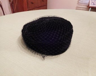 Vintage Black Pillbox Hat with Netting