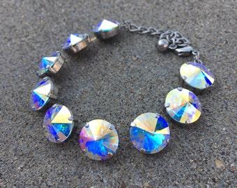 AURORA BOREALIS Swarovski crystal 14mm crystal AB bracelet in antique silver - large statement bracelet