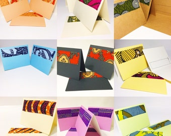 Pack of Six Blank Cards // Greeting Cards // Wax Print Blank Cards // Six Handmade African Fabric Greeting Cards