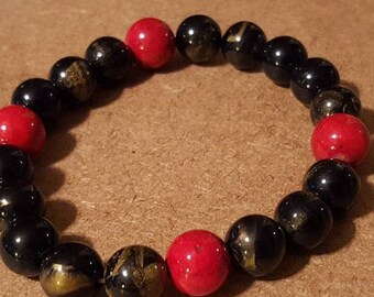 Red Coral and Wood Beaded Stretch Bracelet