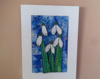 Textile Wall Art Snowdrops on Blue background Unique and Handmade