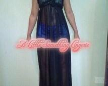 Silk chiffon lingerie dress black see through teddy sheer lingerie silk nightgown silk nightie long silk nightgown black chiffon robe gift