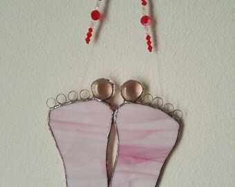 Pink glass baby feet, swarovski beads, baby shower gift, smooth in lead