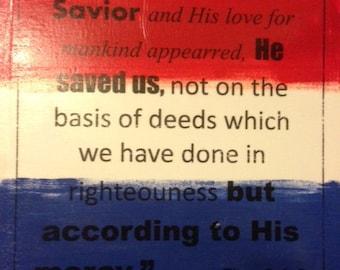 Bible Verse On Patriotic Canvas