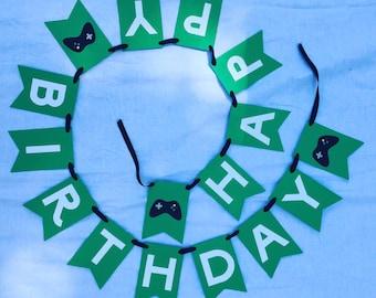 Video Game Birthday Banner, Xbox Party, Boy Birthday Banner, Video Game Party, Custom banner, Party banner, xbox party favors, gamer party