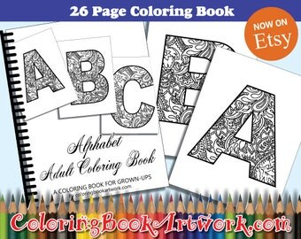 26 Monogrammed Initials Alphabets Coloring Book 26 Page Book