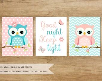 Nursery Print. Owl Print. Nursery Printable. Nursery Decor. Nursery Animals. Baby Girl Nursery Decor. Pink Blue Nursery Art
