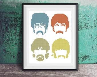 Beatles Pop Art John Lennon Paul McCartney Ringo Star George Harrison Counted Cross Stitch Pattern - PDF Digital Download