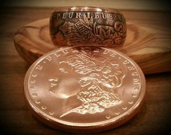 Copper Morgan Dollar Ring - Hand Forged .999 Pure Copper Coin Ring