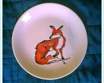 hand-painted set of 4 dinner plates: fox