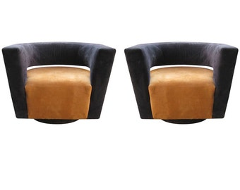Harvey Probber Style Ultra Modern Pair of Swivel Lounge Chairs