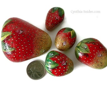Strawberries,painted rocks,garden decor,strawberry stones,fruit painting,painted stawberry rocks,red stones,rock painting,fruit rocks,stones
