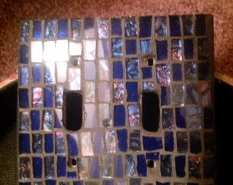Blue stained glass mosaic light switch plate