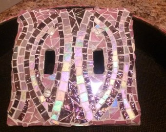 Purple/Pink stained glass light switch plate