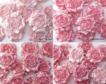 12 Pink Pearl Sugar Roses edible fondant wedding cake decorations candies favors valentine cupcake toppers 30mm 4 OPTIONS