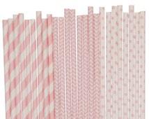 Paper Straw Mix, Light Pink Straw Mix, Pink Striped Chevron Polka Dot Straw Mix, 1st Birthday Decor, Baby Shower Gender Reveal. Pink Wedding