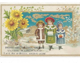 2 French Victorian Trade Card: Ulysse Marchand Grocery & Delicatessen