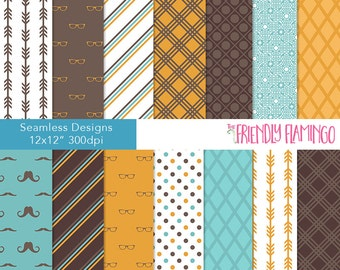 Gentleman digital paper pack, scrapbook paper, scrapbooking, craft paper, printable paper, moustache, business, seamless background (PP030)