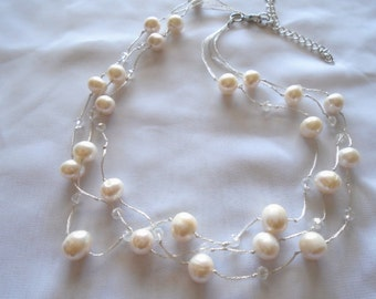 Freshwater Pearl & Crystal Triple Strands Unique Handmade Necklace