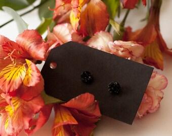 8mm Black Druzy Stud Earrings - Great Bridesmaid Gift!
