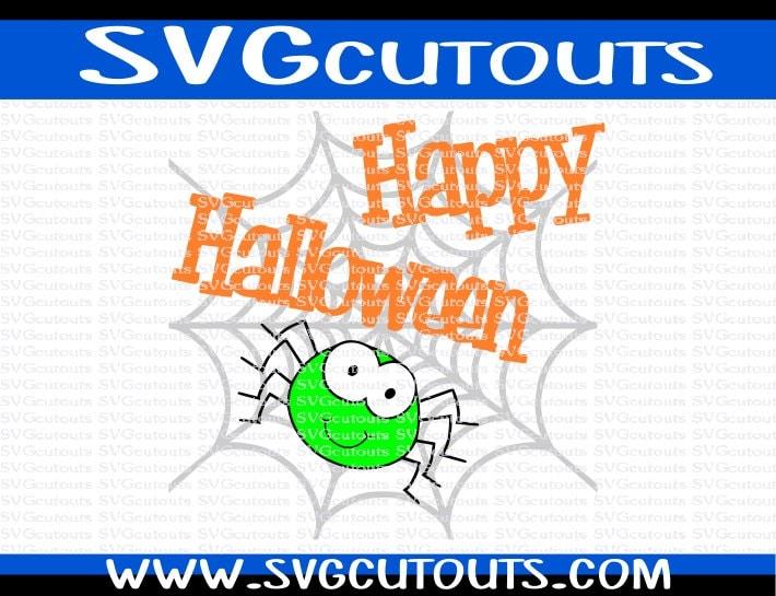 Happy Halloween Spiderweb Spider Design Svg Dxf Eps Format