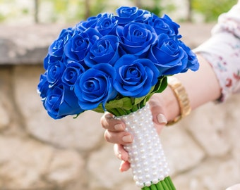 Wedding Bouquets, Wedding Flowers, Blue Roses , Claycraft Flowers, Bridal Bouquets, Handmade Bouquets, Groom Boutonniere, Groom Accessories