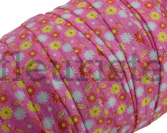 Valentines Fold Over Elastic, FOE, Elastic by the Yard, Wholesale Elastic,  Five Yards - Retro Flowers on Pink