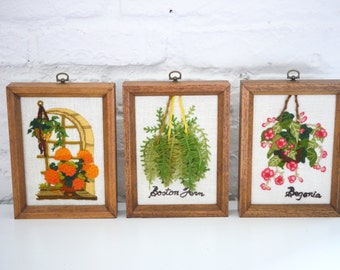 Set of 3 botanical crewel needlepoint pictures marigold flower, boston fern, Begonia