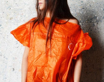 T-shirt ruffle Skydive orange