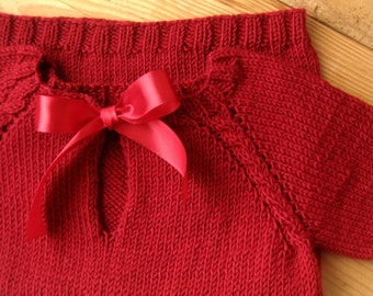 Hand Knit Baby/Toddler Dress With a Bow