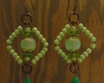 Vintage Mint Green Glass and Brass Earrings