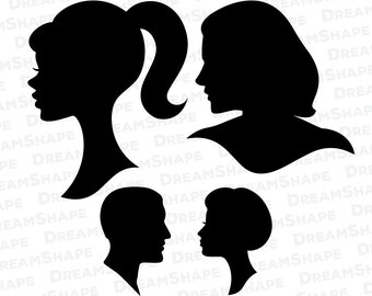 SVG People Head Cut Files, Head Face Cricut File, Vinyl Cutters, Design Shape, Silhouette Studio Monogram, Die Cut Machine Instant Download