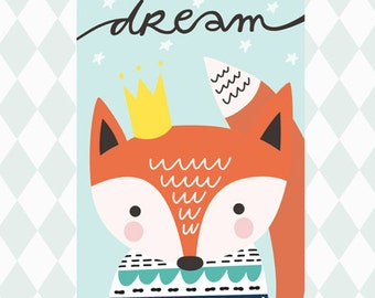 Wall print nursery art cute print kids room decor fox prints