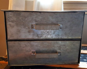 Vintage galvanized metal two-drawer storage box