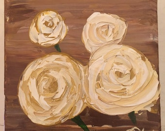White Roses Acrylic Painting on 6x6 inch 3D Canvas