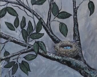 Birds Nest with Blue Eggs