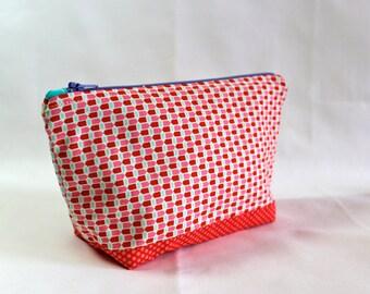Red & Pink Patterned Zipper Bag