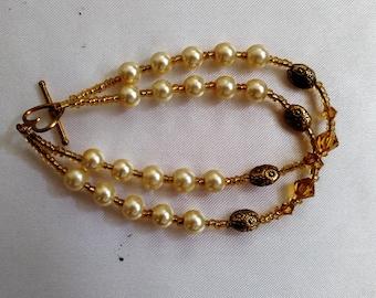 Faux Pearl Double Strand Bracelet