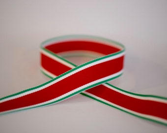 "7/8"" Red & Green Stripe Grosgrain Ribbon. Christmas. Holiday."