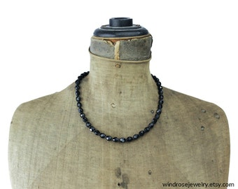 Black Glass Bead Necklace, French Jet Necklace, Black Bead Necklace, Black Beaded Necklace, Black Necklace