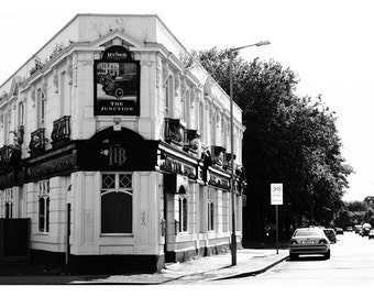 Manchester Pub, Instant Download Photography, Black And White Photography, Cityscape Photography, Wall Art Photography