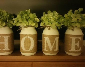 Mason Jar Centerpiece - Home Decor - Painted Mason Jars - Home Centerpiece - housewarming gift
